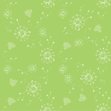Seamless pattern with snowflake and butterfly, vector illustration.