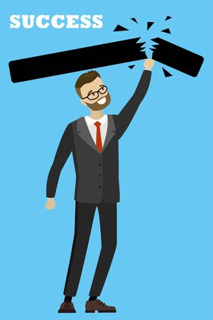 Businessman pushes his way to success,cartoon vector illustration