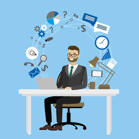 Business workplace,male sitting at a table and working on the Internet,cartoon vector illustration Stock Photo