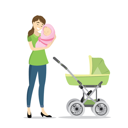Beauty woman with newborn baby and baby carriage,isolated on white background,cartoon vector illustration Illustration