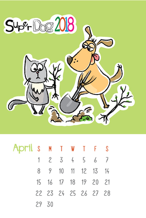 Calendar 2018 with cute funny dog and sad cat,April month,hand drawn template,vector illustration Stock Photo