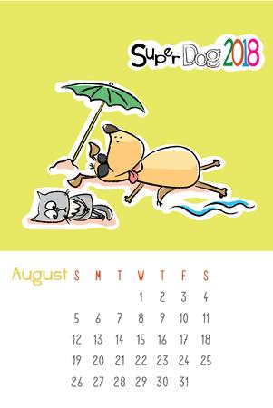 かわいい犬と悲しい猫カレンダー 2018年 8 月月、手描きテンプレート ベクトル イラスト