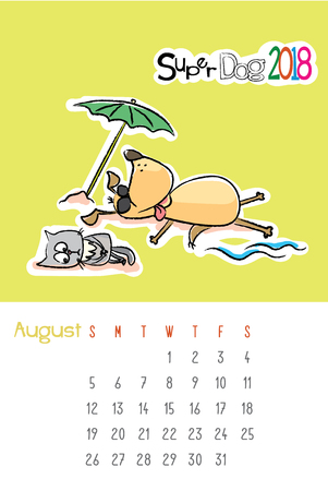 Calendar 2018 with cute funny dog and sad cat,August month,hand drawn template,vector illustration