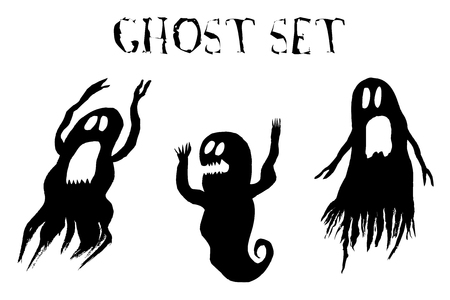 Scary ghost set on white background. Hand drawn, vector illustration.