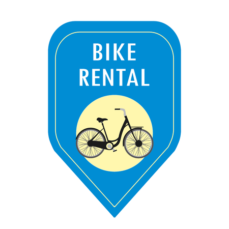 Bike rental icon,cartoon vector illustration