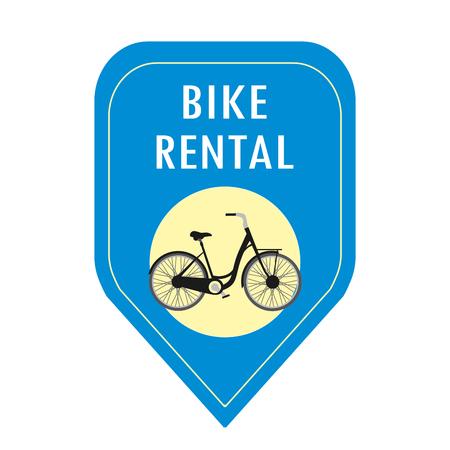 Ícone de aluguer de bicicletas, ilustração vetorial de desenho animado