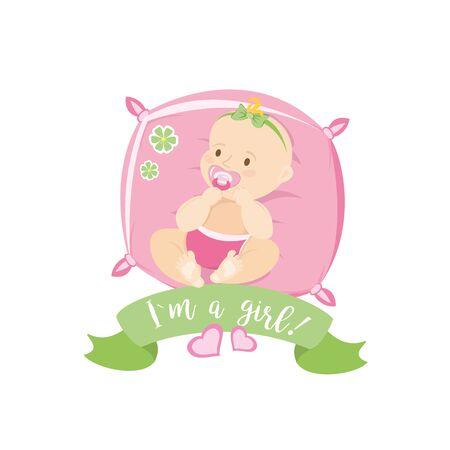 かわいい新生児は枕、カードまたはバナーの上に横たわって、白い背景に隔離され、ベクトルのイラスト  イラスト・ベクター素材