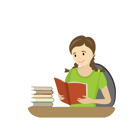 Teenager reads a book cartoon girl isolated on white background vector illustration. Vectores