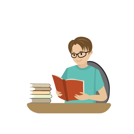 Teenager reads a book, cartoon guy isolated on white background vector illustration.