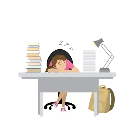 Tired teenager girl sleep at the table with books,cartoon vector illustration Illustration