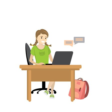 Beauty girl teenager communicates with a laptop illustration. Illustration