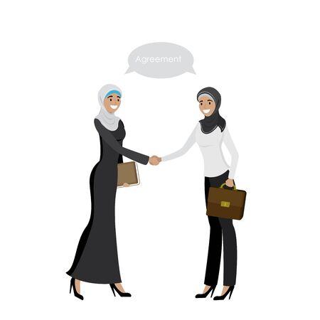 Handshake of Arab Business women, isolated on white background,