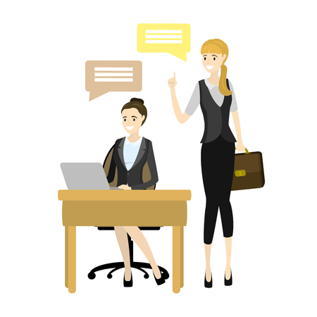 Top Manager And Worker vector illustration. Smiling Cartoon Character Doing The Office Job Under Control Of Chief Executive