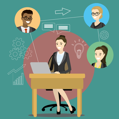 Concept layout on business conference call. Online meeting or discussion using web applications. Business woman chatting with colleagues using computer,Cartoon vector illustration Illustration