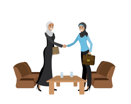 Handshake of two Muslim business women wearing hijabs, isolated on white background,cartoon vector illustration