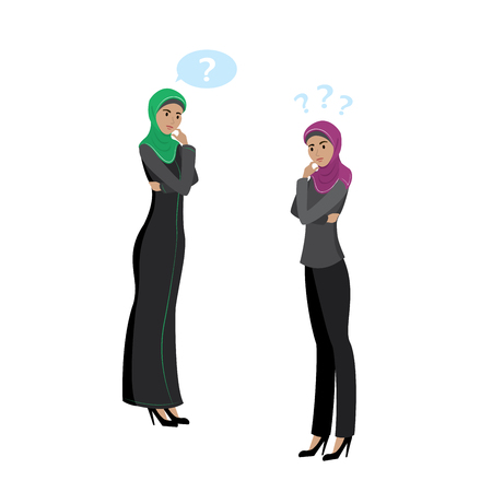 Beauty successful Muslim business women,isolated on white background,cartoon vector illustration Vectores