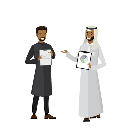 Cartoon Arab businessmen with tablets in hands, isolated on white background,vector illustration