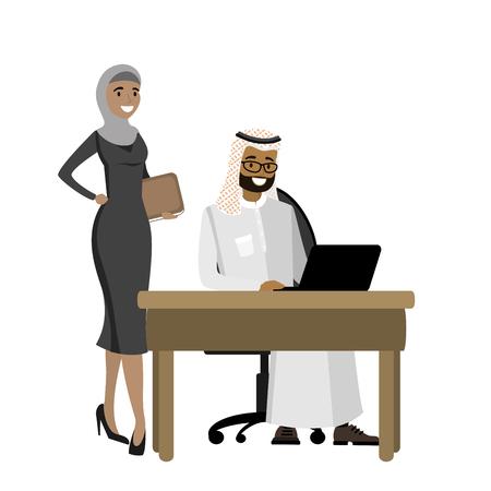ラップトップで働くアラビア語のビジネスマンとビジネスウーマンが立っている、漫画のベクトルイラスト