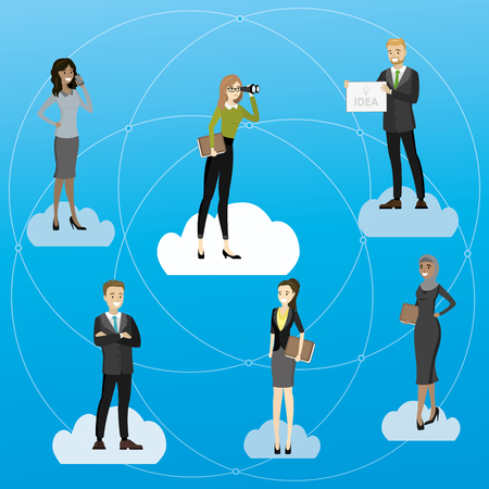 recruitment or business partners search,cartoon vector illustration