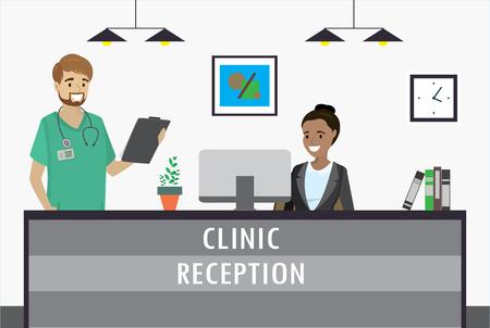 Joven mujer afroamericana sentada en el mostrador de recepción de la clínica y sonríe a médico varón caucásico. ilustración vectorial plana de dibujos animados