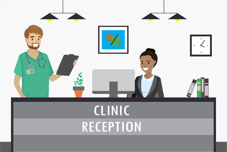 Young african american woman sitting at clinic reception desk and smile caucasian male doctor. cartoon flat vector illustration Vettoriali