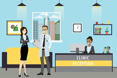 Clinic reception, doctor and patient are standing, administrator sits, cartoon vector illustration