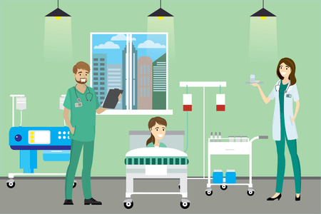 Doctor, nurse and patient in the Hospital room,cartoon vector illustration
