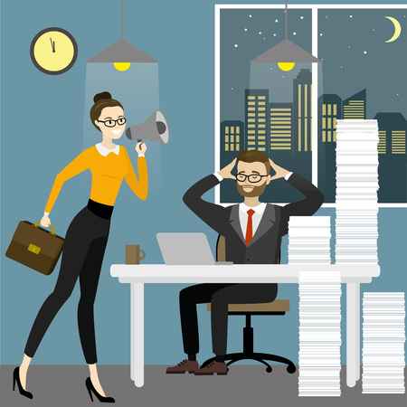 Business woman boss screams into a megaphone by a tired office worker man,Business stress. Flat style cartoon vector illustration Stock Vector - 103626068