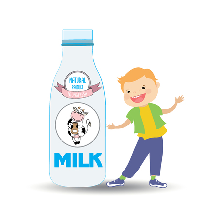 A bottle of milk and cow's label and smiley cute boy,isolated on white, healthy children food cartoon characters vector Illustration Vettoriali