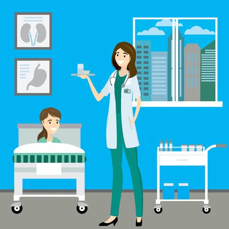 Nurse and patient in hospital room,cartoon vector illustration 일러스트