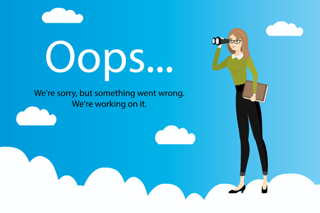 Oops error page and Business woman with binoculars on clouds,stock cartoon vector illustration