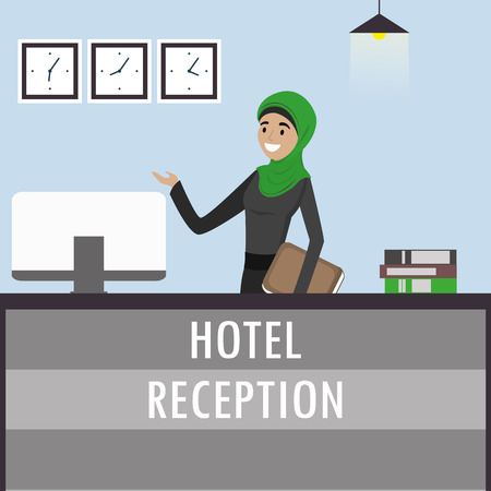 Young arabic woman receptionist in hijab stands at reception desk. Travel, hospitality, hotel booking concept.Cartoon flat vector illustration Vectores