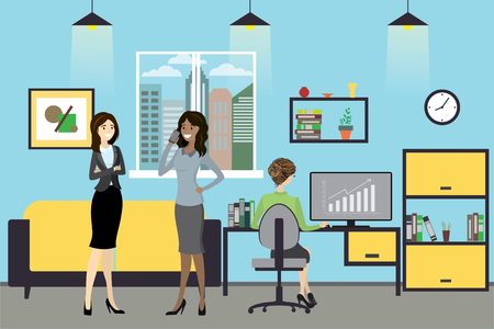 Cartoon business women working at modern office, Business woman speaks on the phone, interior design with furniture,flat vector illustration