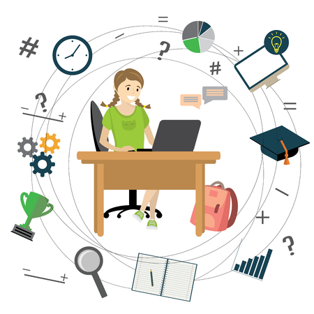 Cartoon caucasian teenager girl sitting at the table and studying,Learning icons, vector illustration