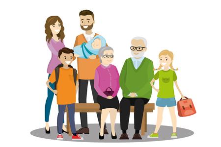 Big cartoon family,isolated on white background,vector illustration Illustration