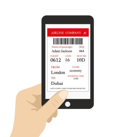 Carta d'imbarco sullo schermo dello smartphone, mano che tiene il telefono cellulare, illustrazione dei cartoni animati su sfondo bianco, vettore