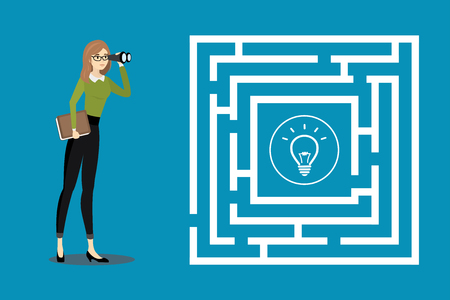 Business woman with binoculars looking at the maze with idea bulb.Cartoon design vector concept illustration.