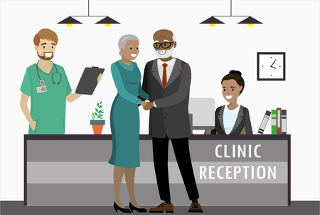Old african american couple in clinic,reception with receptionist and doctor. cartoon flat vector illustration