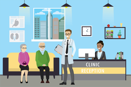 Clinic reception, doctor and old caucasian patients,african american receptionist , cartoon vector illustration