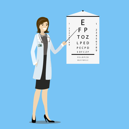 Ophthalmologist and stand with sight test,cartoon vector illustration