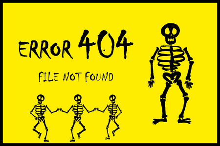 error page 404 and scary skeleton,on yellow background,stock cartoon vector illustration