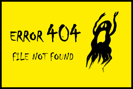 error page 404 and scary ghost,on yellow background,stock cartoon vector illustration Illustration
