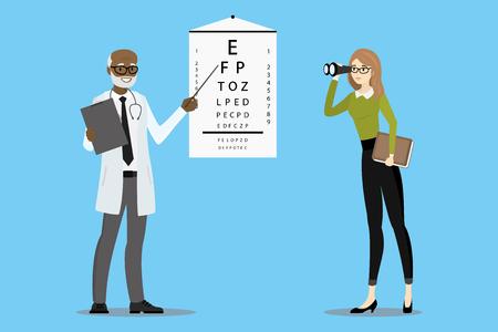 Médecin oculiste vérifie la vision, le patient avec des lunettes regarde à travers des jumelles, illustration vectorielle de dessin animé Vecteurs