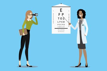 Doctor oculist checks vision, the patient with glasses looks through binoculars,cartoon vector illustration  イラスト・ベクター素材