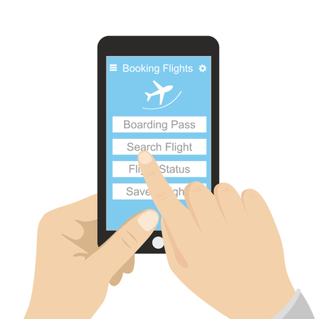modern mobile phone, on screen application for booking an air ticket,flat vector illustration