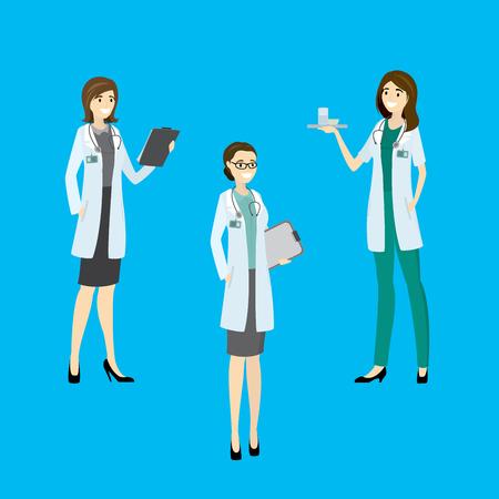 Three beauty hospital nurse, cartoon vector illustration