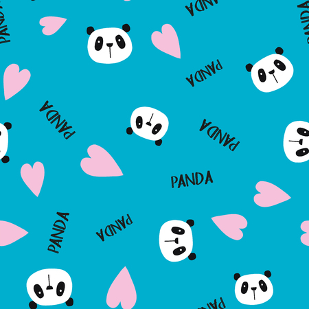 Cute doodle panda seamless pattern, vector illustration