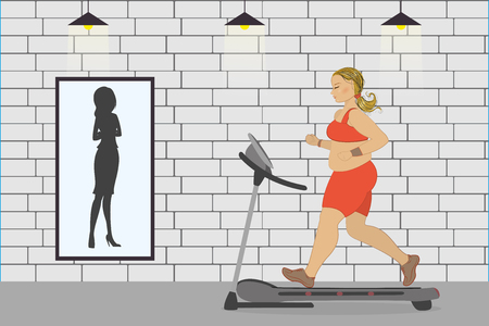 fat girl on a treadmill and silhouette of a thin woman in a mirror,fitness club,cartoon vector illustration