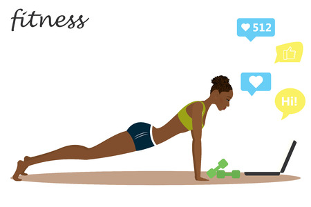 African american Fitness girl and chat on laptop. Healthy lifestyle and Workout. Vector illustration