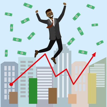 Cartoon Successful businessman jumping for joy.Joyful man with money and growing graph. Vector illustration. Modern design of urban landscape with city buildings